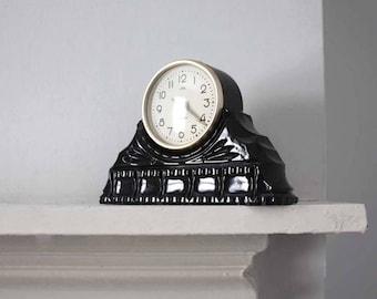 Soviet table clock, vintage wind up Mayak mantle clock, black glass chunky round clock, 1950s art deco clock, office desk clock