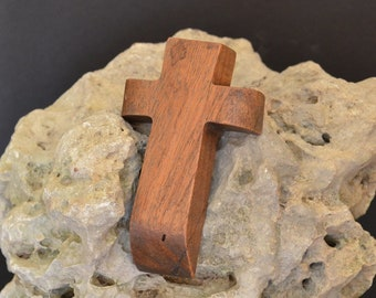 "Wooden Wall Cross; 3""x4.5""x1""; Small Wood Cross; Wall Cross Decor; Crooked Cross; Mesquite; Handmade;  Free Ground Shipping cc5-303052018"