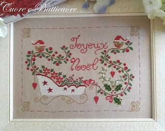 PDF Natale in Slitta Christmas Sleigh counted cross stitch patterns by Cuore e Batticuore e-pattern at thecottageneedle.com embroidery