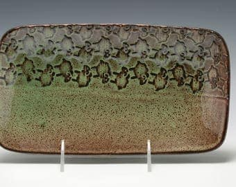 Handmade Ceramic Serving Platter with Sheep Pattern in lovely shades of Brown and Green/Ceramics and Pottery