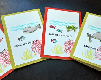 Ocean Cards Set of 4, Summer Cards, Beach Cards, Tropical Cards, Get Well Card, I'm Sorry Card, Thank You Note, Ocean Lover, Gift for Diver