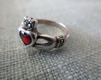 vintage sterling silver and red stone ring - marcasites, Irish, claddagh, size 5