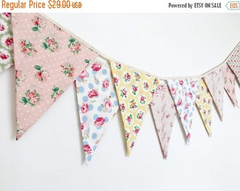 ON SALE Sweet Pastel Shabby Chic Fabric Banners, Bunting, Garland, Wedding Bunting, Flags - 3 yards