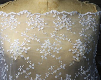 White Lace Fabric with Small Motif Floral Pattern, White Seeds Beads and scalloped edges,  Dresses, Gowns, Bridal wear, Apparel, Accessories