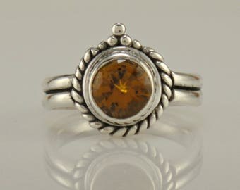 R1115- Sterling Silver Golden Citrine Ring- One of a Kind
