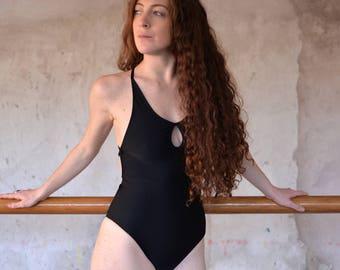 Black one piece swimsuit, cut out,  keyhole one piece, criss cross, low back swimwear, bathingsuit, low neckline, deep plunge, scoop back