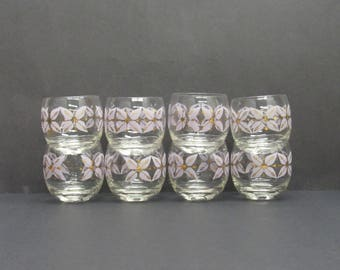 Vintage Atomic Lavender & Gold Floral Roly Poly Glasses, Set of 8 (E9740)