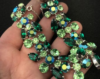 Sherman  Bracelet.  Sherman Green Rhinestone Uranium Glass Unsigned. Gustav Sherman Jewelry. Swarovski  NO.00499