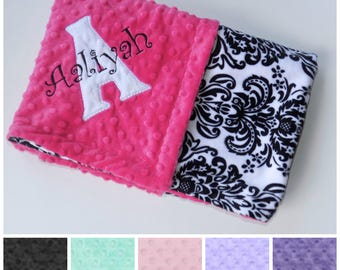 SALE Monogrammed Baby Blanket -  Minky Black and White Damask - Custom Blanket with name, Personalized Monogram  Newborn Gift, pink, purple