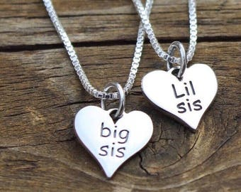 Big Sis Little Sis Necklace Set - Gift for Sister - Sorority Sisters - Best Friend Jewelry -Sister Jewelry - Jewelry Set - Guft for Sister