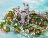 Custom Rosary RESERVED For TammyG Large 8mm Round Fern Green and Topaz Swarovski Crystal Beads, Pewter Dogwood Tree of Life Set
