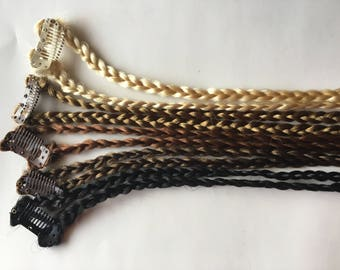 Clip in Double Braid Hair Extension Plait Tie Bun 24-26 inches Black Brown Auburn Blonde Fast and Fun Hairstyle