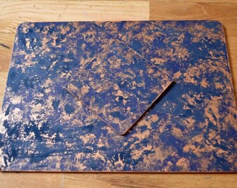 Luxury Navy Blue Copper Vintage 50's Leather Placemats & Coasters Gold Edged Set Of Six