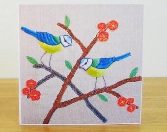 Blue Tit Greetings Card, Bird Greetings Card, Recycled Card, Art Card