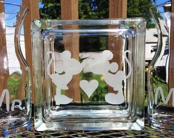 Disney -  Glass Block - Sand Ceremony Set - Mickey and Minnie - with Heart and 2 pouring vases Mr. and Mrs Etched Glass Engraved Unity Set
