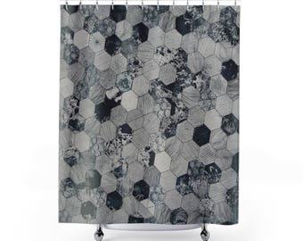 Hexagon Tile Shower Curtains