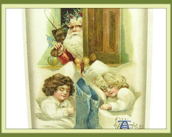 Winsch Christmas Postcard. Santa Claus Delivering Toys to Sleeping Children. Embossed Chromo Lithograph Antique 1910s Collectible Home Décor