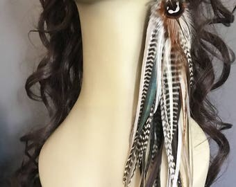 """13"""" Single Grizzly Earring, Lush Feather Jewelry Grizzly Natural OOAK Long Earring Single Ready To Ship Summer Festival Jewelry"""