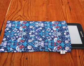 "Handmade Kindle 6"" or Paperwhite Cover Sleeve Liberty Strawberry Thief Tana Lawn Fabric"
