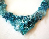 Blue freeform necklace, Blue jewelry,  Gift for women, Handmade necklace, Seed bead necklace, Statement jewelry