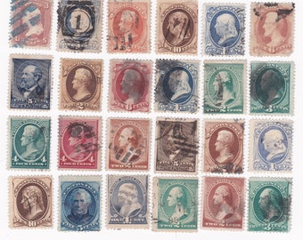 24 1800's Classic US Postage Stamps