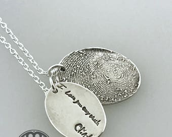 Fingerprint and Actual Handwriting necklace with TWO charms made from actual fingerprint and writing/signature