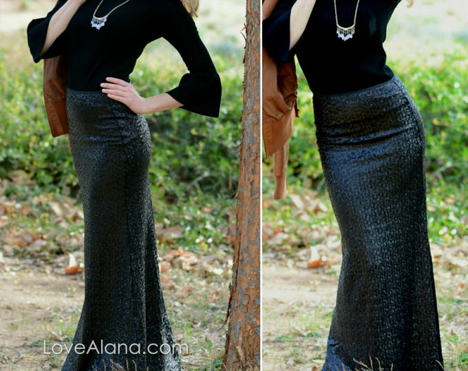 Free Shipping! Black Maxi Sequin Skirt - Gorgeous high quality sequins on spandex. (BACK IN STOCK)