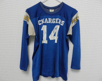 vintage Dan Fouts Jersey 70s 80s San Diego Chargers NFL long sleeve Rawlings USA Youth XL football jersey retro Los Angeles #14 raglan Rare