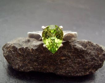 Genuine Peridot Faceted Pear Cut Solitaire Engagement Solid 925 Sterling Silver Ring August Birthstone 1st & 16th Anniversary Gift For Her