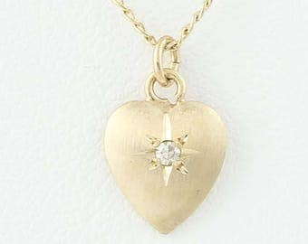 """Diamond-Accented Heart Pendant Necklace 14 3/4"""" - 14k Yellow Gold Love Gift G1211"""