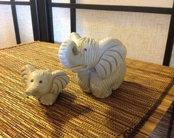 Artesania Rinconada animal pair: adult elephant parent and calf, Uruguay #159, 160