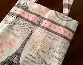 Large Cross Body Tote Bag for Women, Paris Fabric Tote, Lightweight Travel Bag