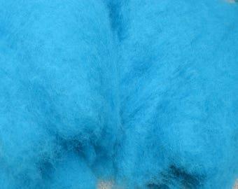 Bergschaf wool uk, turquoise, needle felting, carded bergschaf wool for felting