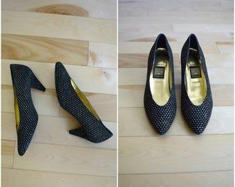 Summer Sale Vintage Nina black and gold glitter polka dot heels / retro metallic velvet pumps / women's size 8M / leather sole