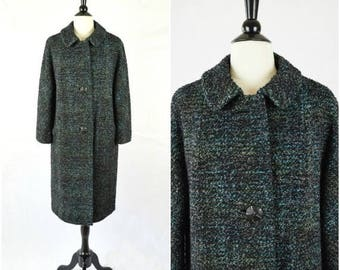Summer Sale Vintage black and blue boucle tweed mid century swing coat with large buttons / winter jacket