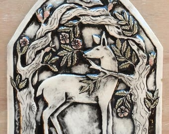 Deer in the rose garden handmade ceramic tile