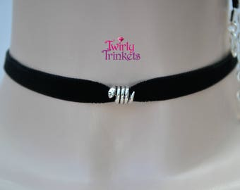 BLACK Choker Necklace, 10mm Velvet Ribbon With Snake Bead Charm  - te... or choose another colour, hand made to size  :)