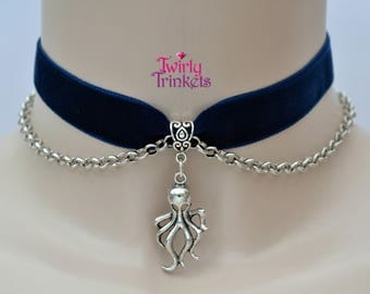 BLUE Velvet Ribbon Choker Necklace With OCTOPUS Charm & Chain Drapes -th... or choose another colour velvet from 30 options :)