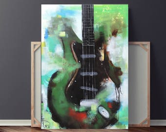 Guitar Painting, Abstract Painting, Green & Black Painting, Large Original Painting on Canvas, 36x24 Heather Day Paintings