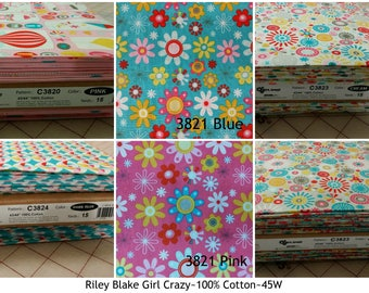 Riley Blake Girl Crazy collection choose fat quarters 1/4 yard 1/2 yard or full yardage