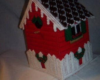 Plastic Canvas Christmas Birdhouse Tissue Box Cover