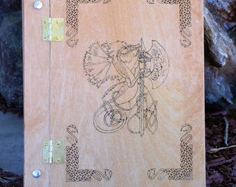 Wood Burned Dragon and Celtic Knot Book of Shadows