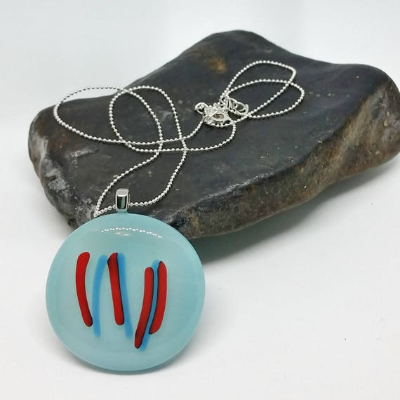 Blue and Red Striped Glass Pendant with Silver Chain