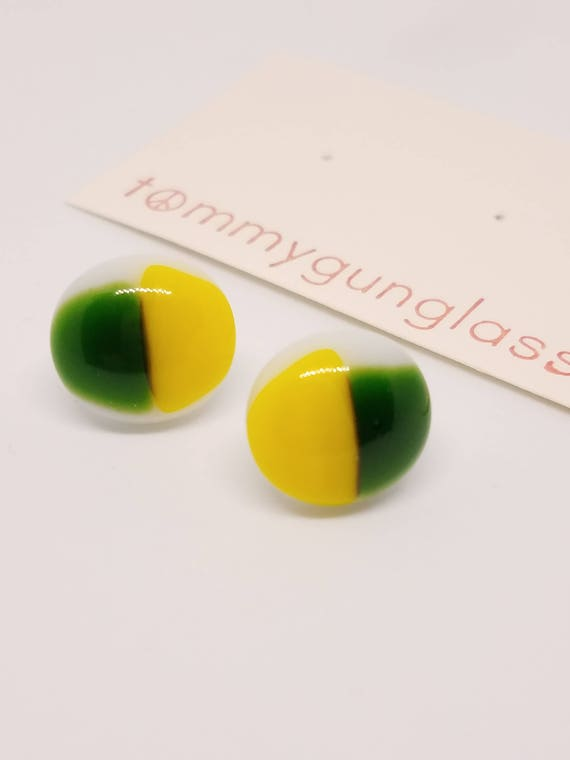 Yellow and Green Glass Stud Earrings