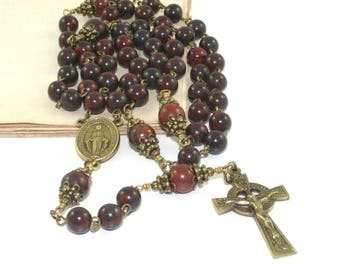 Catholic Man's Rosary Prayer Beads, Jasper & Brass Celtic Crucifix