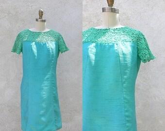 1/2 Off SALE Vintage Silk Mod 60s Dress, Short Aqua Blue Green Shift, Union Made in the USA
