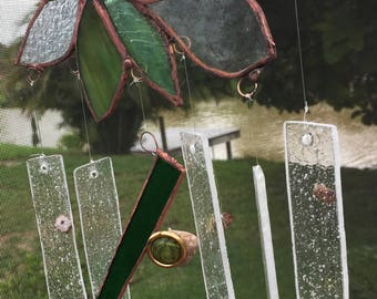 Forest/ Garden Petals Rain Glass ~ Stained Blown Glass~  Wind chime Mobile