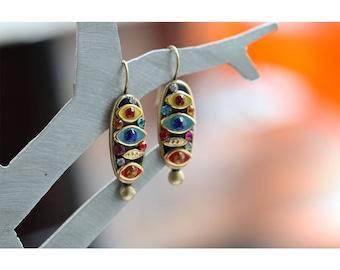 Multi Color Eye Earrings