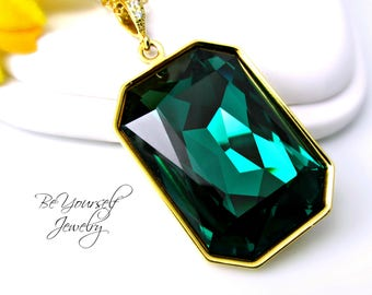 Emerald Green Necklace Swarovski Crystal Emerald Cut Long Layering Necklace Large Pendant Gold Chain Emerald Jewelry Statement Necklace
