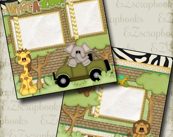 WHAT A ZOO - 2 Premade Scrapbook Pages - EZ Layout 983
